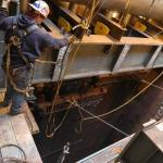 Economizer #1 tube panels being rigged out from under LP drum and into Economizer #2 bay to be transferred to crane.